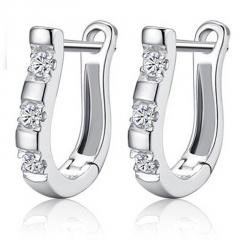 Silver U-Shaped Zircon Ear Buckle Rhinestone Gemstone Earring Jewelry Wholesale U shape