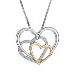 Silver Plated Multi-Layer Love Pendant Gemstone Necklace Heart