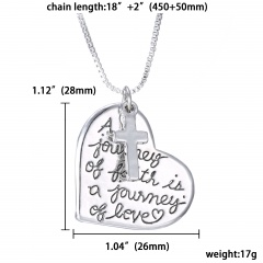 Fashion Silver Pendant Family Necklace Charm Chain Jewelry Gifts Heart Cross