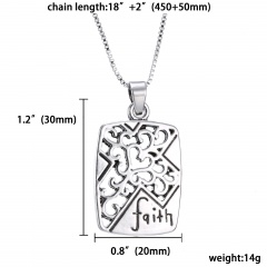 Fashion Silver Pendant Family Necklace Charm Chain Jewelry Gifts Hollow