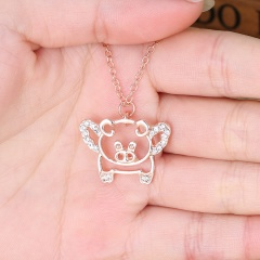 Fashion Cute Fly Pig Rose Gold Crystal Necklace Chain Pendant Charm Jewelry Gifts Rose Gold