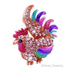 Rinhoo Rhinestone Colorful Enamel Wild Animal Bird Brooch Pins Men Women's Alloy Bird Brooches For Suits Dress Banquet Brooch Gift cock2