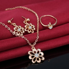 Prom Wedding Bridal Party Crystal Rhinestone 18K Necklace Earring Jewelry Sets Gifts Flower