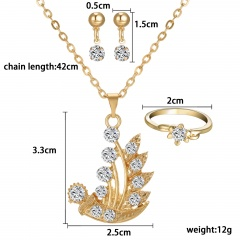 Prom Wedding Bridal Party Crystal Rhinestone 18K Necklace Earring Jewelry Sets Gifts ferry