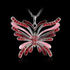Fashion Crystal Butterfly Pendant Necklace Women Long Sweater Chain Red