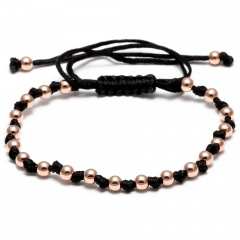 Rinhoo Dropshipping 4mm Round Copper Beads Bracelets Fashion Jewelry Black Woven Rope Bracelet Women Macrame Bracelet Men Gift Rose gold
