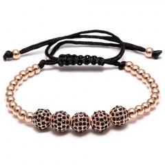 Rinhoo 4mm 8mm Round Copper Beads Bracelets Fashion Jewelry Black Woven Rope Bracelet Women Macrame Bracelet Men Gift Rose gold