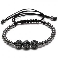 Rinhoo Brand Handmade Round Copper Beads Bracelets Fashion Jewelry Black Woven Rope Bracelet Women Bracelet Men Gift Gun black