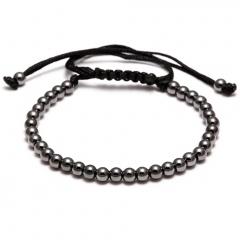 Rinhoo Trendy Handmade Brand Men Bracelet Macrame Jewelry 4mm Copper Beads Braided Strand Woven Charm Bracelets & Bangles for Men Women Gun black