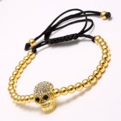 Rinhoo New European style Alloy Beads Bracelets Skull For women Men Handmade Rope Woven Bangle Jewelry Gold
