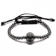 Rinhoo New European style Alloy Beads Bracelets Skull For women Men Handmade Rope Woven Bangle Jewelry Gun black