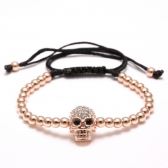 Rinhoo New European style Alloy Beads Bracelets Skull For women Men Handmade Rope Woven Bangle Jewelry Rose gold