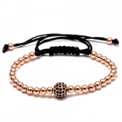 Rinhoo 1PC Handmade Big Beads Ball Braided Macrame Charm Wrap Cord Beaded Bracelet Bangles Adjustable Rope Jewelry For Men Women Rose gold