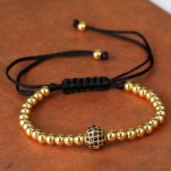 Rinhoo 1PC Handmade Big Beads Ball Braided Macrame Charm Wrap Cord Beaded Bracelet Bangles Adjustable Rope Jewelry For Men Women Gold