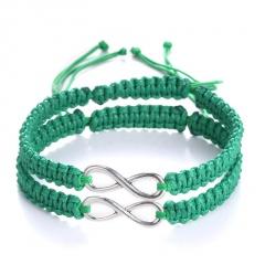 Rinhoo 2pcs/pair Handmade Rope Chain Bracelet Fashion Jewelry For women men wristbands Bangle mix colors Adjustable Couple Bracelet green*2