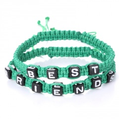 Rinhoo 2pcs Couples Bracelet Set Friendship Bracelet Set BEST FRIENDS Handmade Bracelet Set Infinity Jewelry for Women Men green