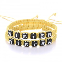 Rinhoo 2pcs Couples Bracelet Set Friendship Bracelet Set Letters SISTER Handmade Bracelet Set Infinity Jewelry for Women Yellow