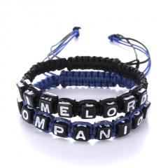2pcs/Set Hand-Knitted Bracelet English Alphabet Time Lord Companion Hand Rope Bracelet Jewelry Black&Blue