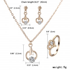 Fashion Gold Crystal Heart Necklace Earrings Ring Bridal Wedding Jewelry Set Round