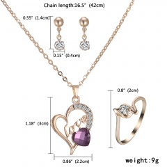 Fashion Gold Crystal Heart Necklace Earrings Ring Bridal Wedding Jewelry Set Love