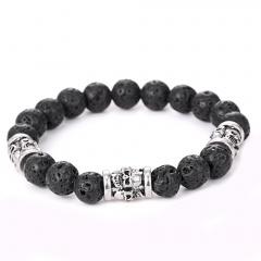 Rinhoo 1PC 10mm Black Volcanic Stone Beads Bracelet For Women Men Fashion Jewelry Gift Bracelet 3