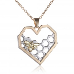 Fashin Silver Gold Hollow Heart Pendant Necklace Bee Charm Chain Jewelry Gold