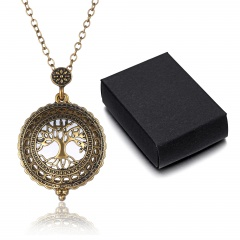 Vintage Chain Magnifying Glass Necklace Pendant Grandma Gift Free Box Jewelry Tree