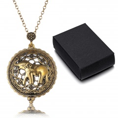 Vintage Chain Magnifying Glass Necklace Pendant Grandma Gift Free Box Jewelry Elephant