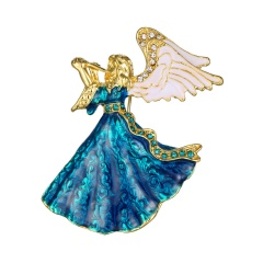 Rinhoo Fashion Rhinestone Crystal Gifts Music Angel Brooch Pin For Women Brooches Jewelry music angel
