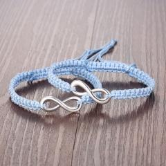 Rinhoo 2pcs/pair Handmade Rope Chain Bracelet Fashion Jewelry For women men wristbands Bangle mix colors Adjustable Couple Bracelet blue*2