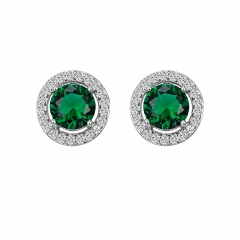 Fashion Silver Plated Earring Green Gemstone Stud Earring Jewelry Green