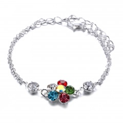 Colorful flower geometry claw chain Diamond Bracelet flower