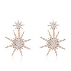 1Pairs Women Lady Crystal Rhinestone Dangle Gold Star Ear Stud Earrings Jewelry Star