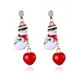 Christmas Tree Snowman Deer Bell Ear Stud Hook Earrings Xmas Party Jewelry Gift 2