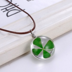 Fashion Real Dried Flower Four-leaf clover Pendant Necklace Glass Charm Jewelry Green
