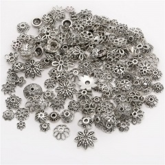 50pcs/Bag Diy Alloy Jewelry Accessories Tibetan Silver Bronze Retro Torus Flower Hat Bead Support Mixed Style And Color 50pcs