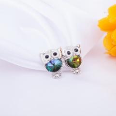 Fashion Crystal Owl Small Stud Earring Owl