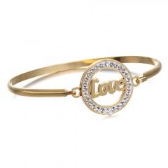 Oval high-grade Cross Heart Mather stainless steel bracelet For Women Gold Circle Square Shape For Women Girls Best Gift Bangle 3