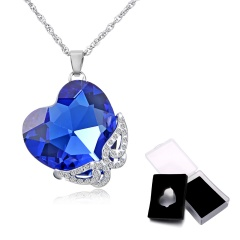 1PC/Box Fashion Butterfly Crystal Pendant Necklace Austria Love Crystal Necklace With Box Heart
