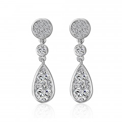 Leaves Feather Zircon Stud Earrings Water Drop