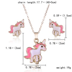 Fashion Gold Plated Big Red Lips Necklace And Earrings Set Horse