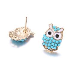 Fashion Diamond-Studded Owl Earrings Blue