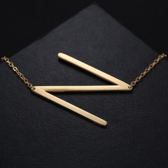 Fashion Women Gold Stainless Steel Alphabet Initial Letter Pendant Chain Necklace A-Z N