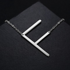 Fashion Silver Stainless Steel Letting Necklace Jewelry Wholesale F