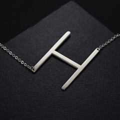 Fashion Silver Stainless Steel Letting Necklace Jewelry Wholesale H