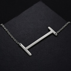 Fashion Silver Women Stainless Steel Alphabet Initial Letter Pendant Chain Necklace A-Z I