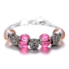 Fashion Large Beads Silver Chain Bracelet Jewelry Wholesale Pink