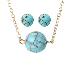 Fashion Turquoise Necklace Earring Jewelry Set Wholesale Gold