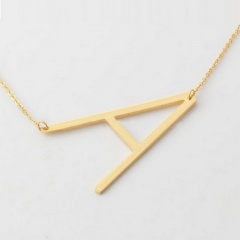 Fashion Women Gold Stainless Steel Alphabet Initial Letter Pendant Chain Necklace A-Z A