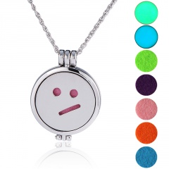 Openable Photo Box Aromatherapy Hollow Pendant Color Cotton Pad Aroma Diffuser Necklace B
